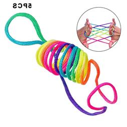 1/2/5Pcs Rainbow Rope Kid's Toys Finger Rope <font><b>Game</