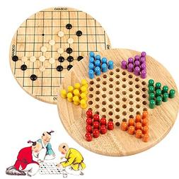 Wondertoys 2 in 1 Chinese Checkers & Gobang  Wooden Board Ga