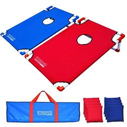 SUKEQ 2 in 1 Cornhole Bean Bag Toss Game and Tic Tac Toe Set