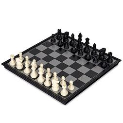 GZNIGHT 2 in 1 Travel Magnetic Chess and Checkers Game Set -