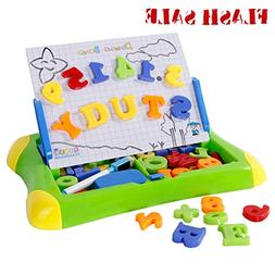 SGILE 2 in 1 Magnetic Drawing Board with Letters Numbers Sym