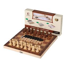 3-in-1 Wood Combination Chess, Checkers, and Backgammon Game