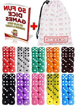 Dice Gaming Set 100 Six Sided Dice 10 Colors With Storage Ba