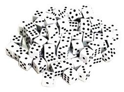 ABO Gear 100 White Dice - 16MM - with Black Pips Dots for Bo