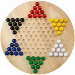 11.5 Inch - All Natural WOOD Chinese Checkers with WOODEN MA