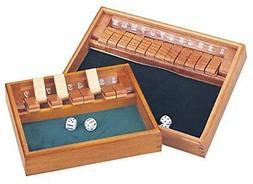 12 Number Shut the Box Board Game Wooden Case Circa Vintage