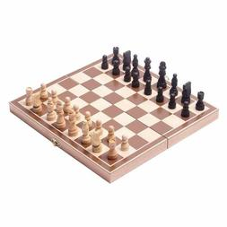 "13.5"" Wooden Chess Game Set Board Hand Crafted Folding Chess"
