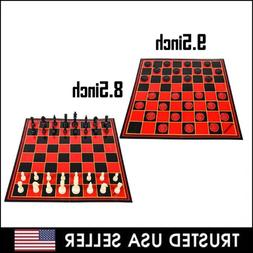 2 in 1 Folding Chess Checkers Set Board Game Checkers Toy St
