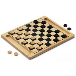 2-in-1 Wooden Checkers & Tic-Tac-Toe Board Game Combo Set wi