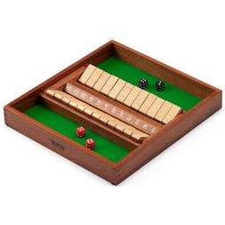 2-Players 12 Numbers Shut The Box Board Game w/Dice. Bar Par