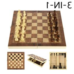 3 in 1 Folding Chess Wooden Set Board Game Checkers Backgamm