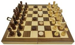 DA VINCI 3-in-1 Wood Combination Chess, Checkers, and Backga