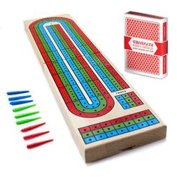 3-Track Wooden Cribbage Board Game