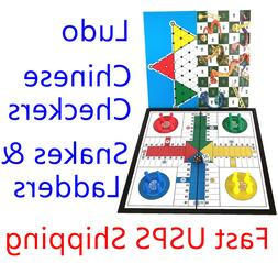 3in1 Travel Board Game Folding Magnetic Ludo,ChineseChecker,