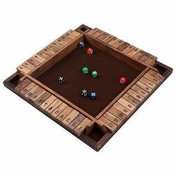 4-Player Wooden Shut the Box Board Game 12 Numbers with Dice