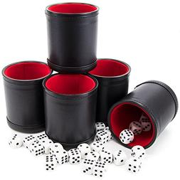 Bundle of 5 Professional Dice Cups – Red Felt-Lined, Quali