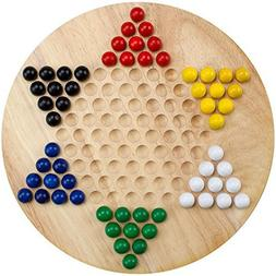All Natural Wood Chinese Checkers with Wooden Marbles by Bry