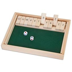 Bits and Pieces - Wooden Shut the Box 12 Dice Game Board-Cla