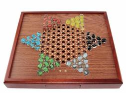 Board Games ~ Chinese Checkers Square Wooden Game Set Drawer