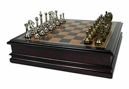 Classic Game Collection Metal Chess Set With Deluxe Wood Boa