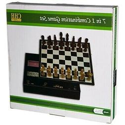 Faux Leather Game Set with A Variety of Tabletop Games, Blac