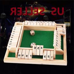 US SHIP Deluxe Four Sided 10 Number Shut the Box Board Game