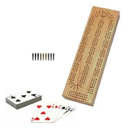 WE Games Cabinet Cribbage Set - Solid Wood Continuous 3 Trac