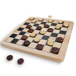 All Natural Wood 2-in-1 Checkers and Tic-Tac-Toe Board Game