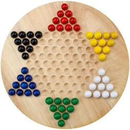 All Natural Wood Chinese Checkers with Wooden Marbles Board