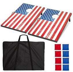 Play Platoon American Flag Cornhole Boards with Cornhole Bag