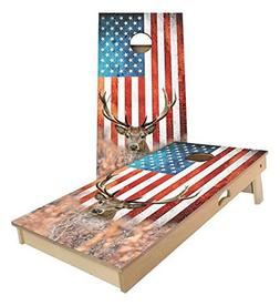 Floating Pong American Flag Deer Cornhole Boards, 2x3 , Tail
