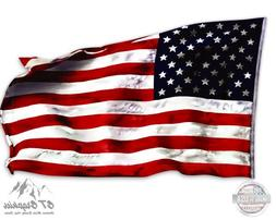 "American Flag Waving in the Wind - 20"" - Large Size Vinyl St"
