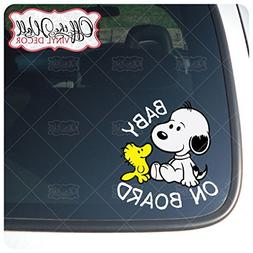 """Baby Snoopy Dog """"BABY ON BOARD"""" Sign Vinyl Decal Sticker for"""