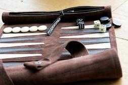 Backgammon mocha Travel Game by Sondergut - roll-up, light w