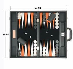 "Backgammon Set-Premium Large 18"" Classic Board Game Travel J"