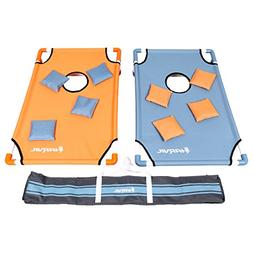 Harvil Portable PVC Framed Cornhole Set with 8 Double-Lined