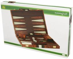 Best 18x22 Backgammon Set Brown White Faux Leather Portable