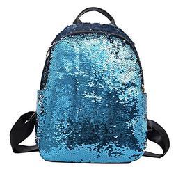 Women Girls Bling Backpack,Realdo Solid Zipper Daypack Satch