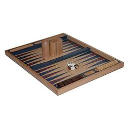 19 Inch Blue Non-Folding Beech Backgammon Set