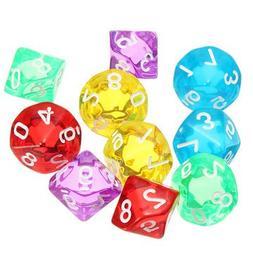 Board Game Toys - 10-Pcs D10 Ten Sided Gem Dice Die For Rpg