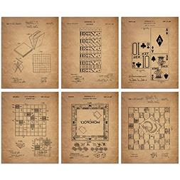 Board Games Patent Wall Art Prints - Set of Six Vintage Fami