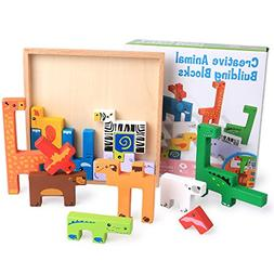 XNTBX Wooden Building Block Puzzles - Cartoon Animal Board E