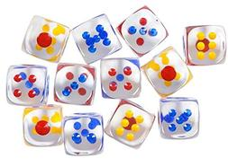 Bulk Pack Board Game Dice 1 Dozen Assorted Large Translucent