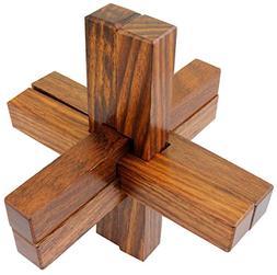 Burr Puzzle 6 Piece Wooden Vintage Brainbuster Game Wood Int