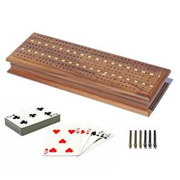 WE Games Cabinet Cribbage Set - Solid Walnut Wood with Inlay