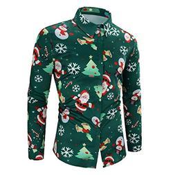 LEXUPA Men Casual Blouse Snowflakes Top Santa Candy Printed