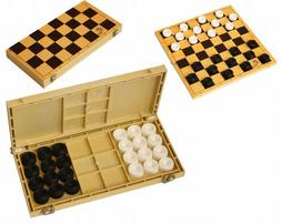 Checkers with Chess Board Game in Box Black and White Set of