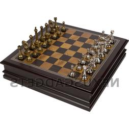 Gris Chess Board Game Set Wood Wooden Inlaid Storage METAL P