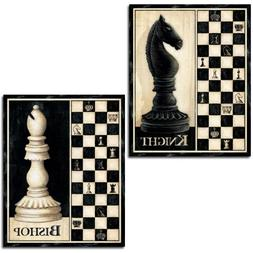 Set of 2 Chess Board Pieces Art Prints Knight Bishop 16 x 20