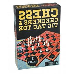 Chess/Checkers & Tic Tac Toe In Gold Foil Box Classic Game